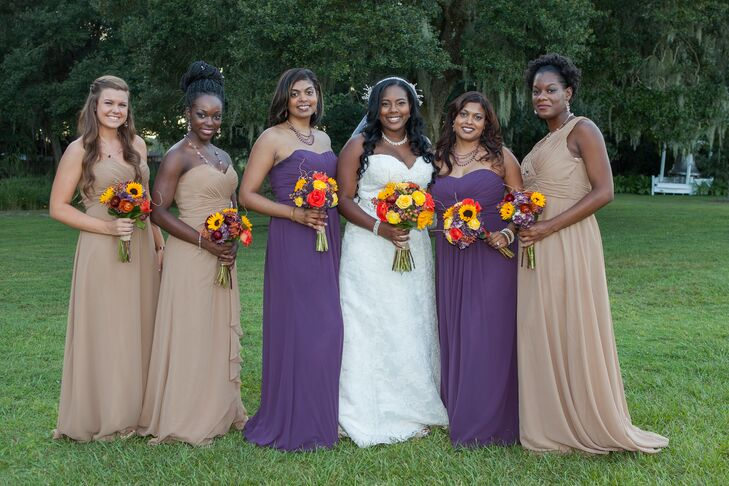 Sasha had her two Maids of Honor wear purple maxi dresses while the other bridesmaids wore tan maxi dresses with a varied necklines.