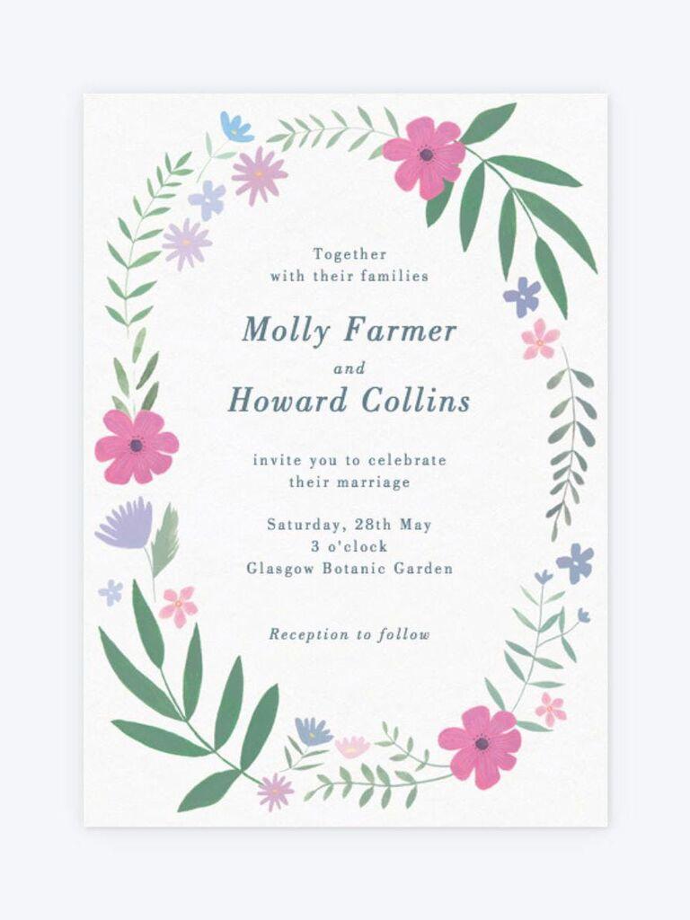 Papier floral wreath spring wedding invitation