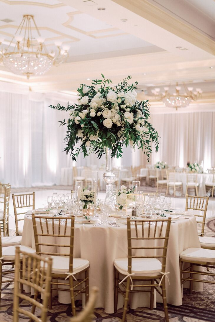 Tall Centerpiece with Greenery, White Roses and Peonies