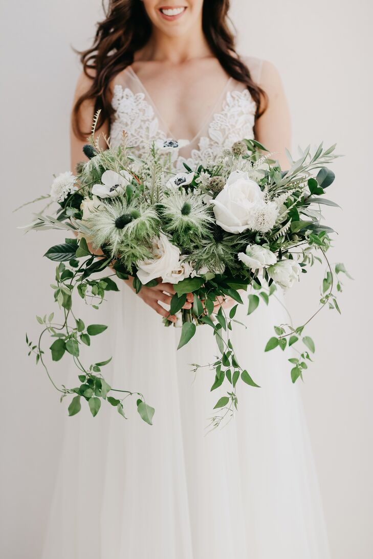 Loose, Organic Bouquet of Anemones, Roses, Thistle and Jasmine Vines