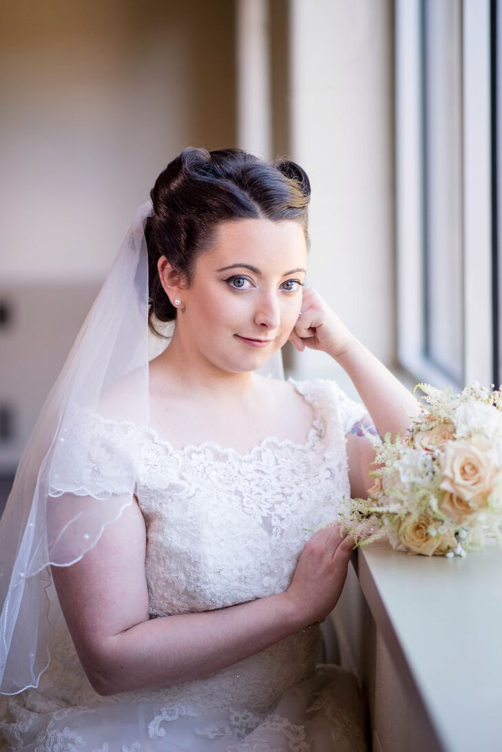 Vintage Inspired Bride With Victory Roll Hairstyle