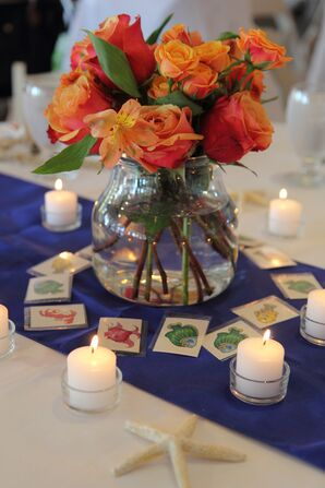Orange Rose and Orchid Centerpieces