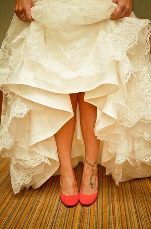 Coral Heels, Ruffled Lace Dress Train