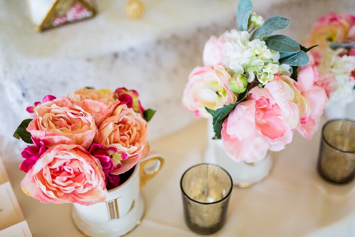 Pink Peonies in Small Mugs