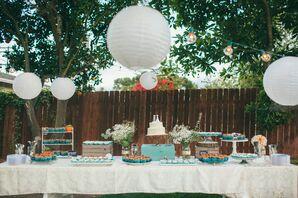 Paper Lanterns Around Backyard Dessert Table