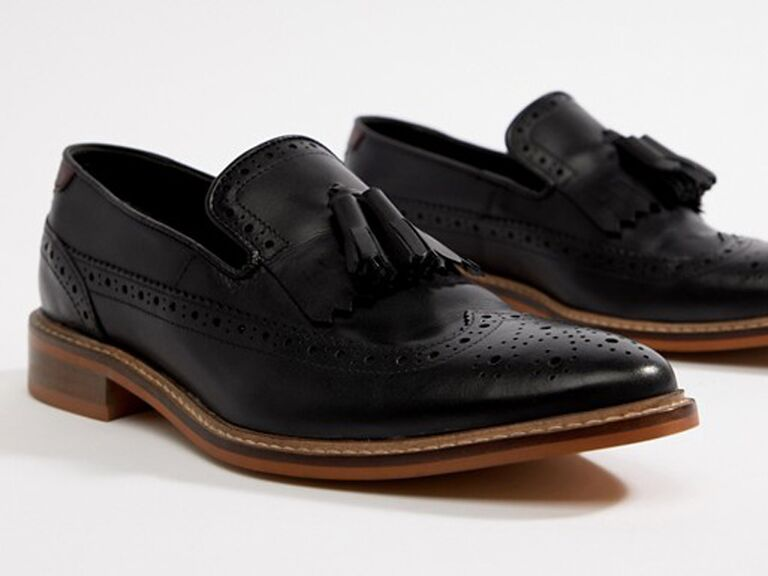 Black loafer beach wedding shoes