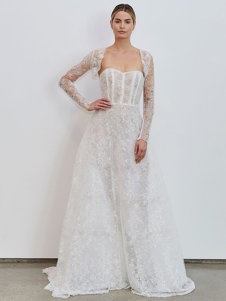 Francesca Miranda A-line dress with lace sleeves