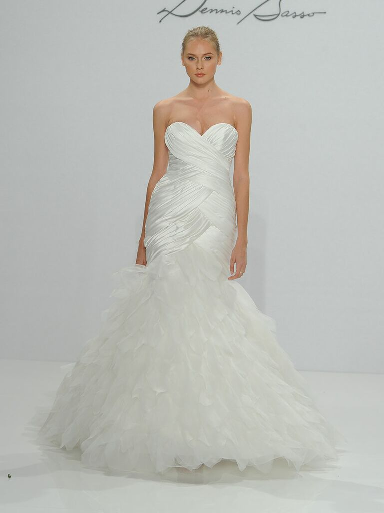 4a97932dc4c Dennis Basso for Kleinfeld Fall 2017 ivory strapless sweetheart draped  dropped waist satin mermaid wedding dress