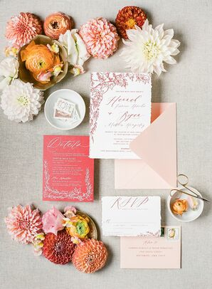 Red Invitation Suite with Blush Envelopes