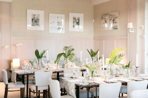 Neutral Reception Space with Tropical Leaf Centerpieces