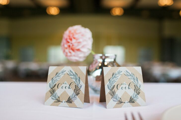Mr. and Mrs. Chevron Place Cards
