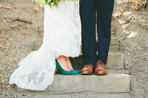 Green Heels and Brown Dress Shoes