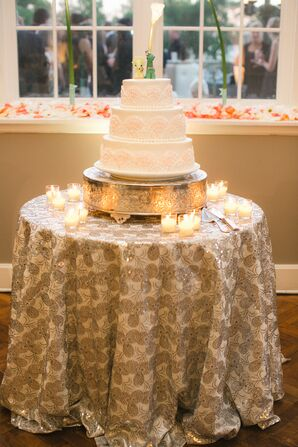 Three-Tier Wedding Cake with Scalloped Detailing
