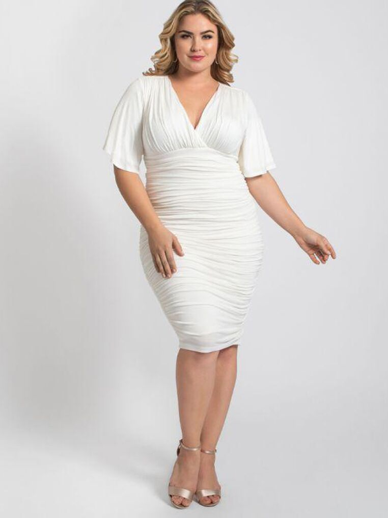White ruched plus size dress