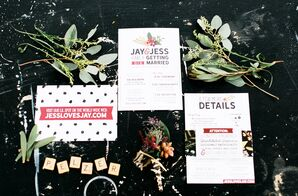 Black-and-White Typography Invitations with Boho Graphics
