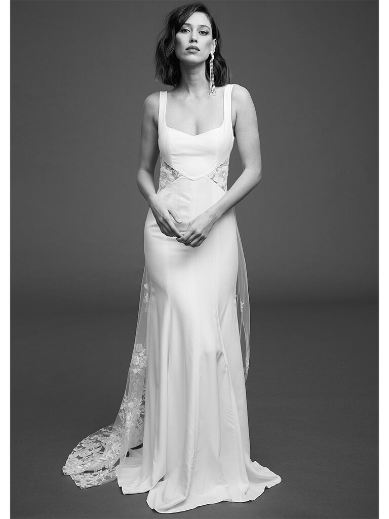 Rime Arodaky fitted gown with embroidered tulle and sheer cuts