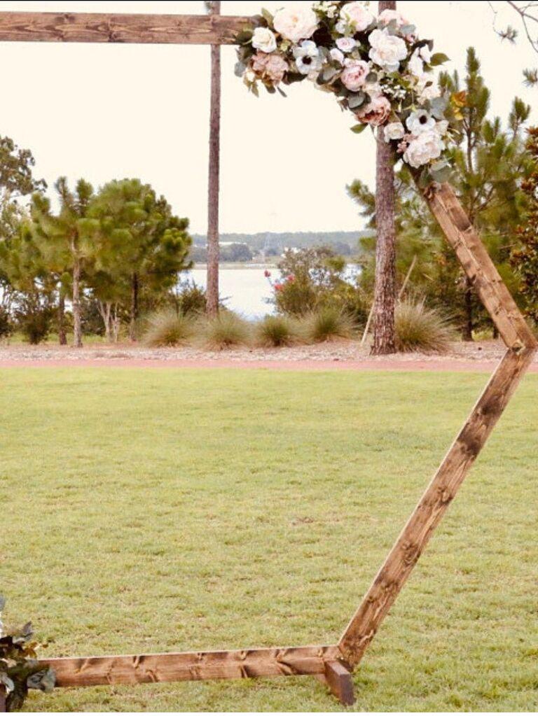 Backyard wedding ideas hexagon arch