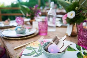 Colorful Floral Plates and Wooden Crayons