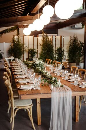 Wood Farm Table and Chairs at Reception in San Sebastian, Spain