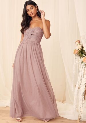 Lulus Forever Enchanted Dusty Mauve Tulle Strapless Maxi Dress Strapless Bridesmaid Dress