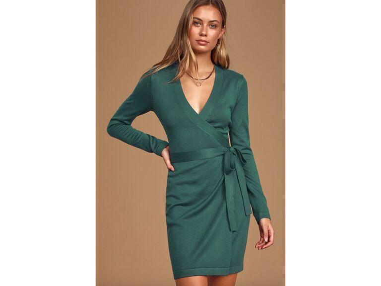 Green wrap sweater dress