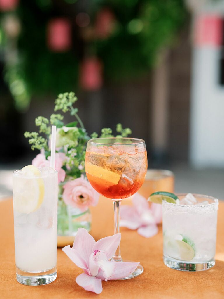 Three custom wedding cocktails in pastel colors
