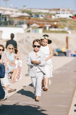 Ring Bearer and Flower Girls at Beach Wedding