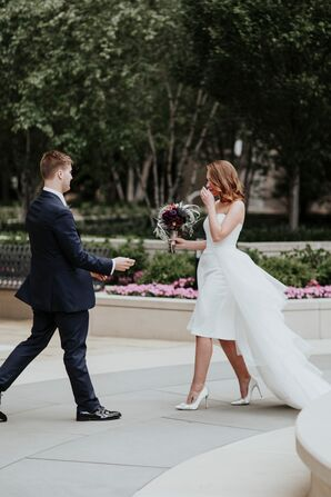 Modern Bride in Short Dress with Long Train