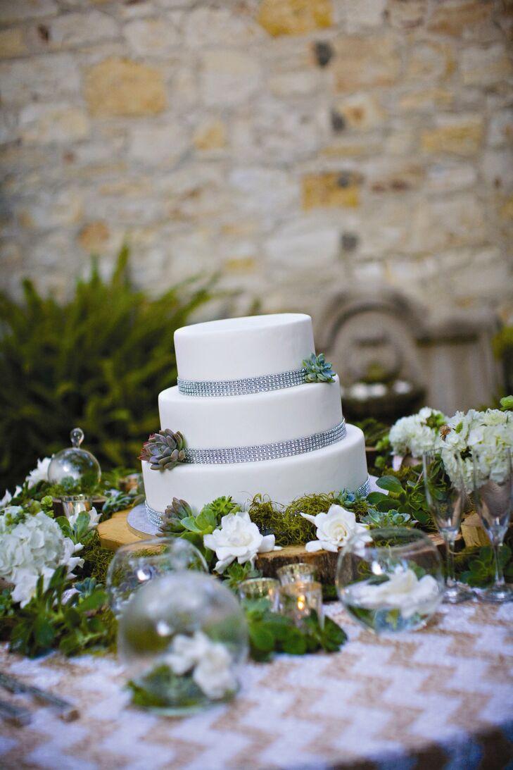 Three-Tier White Floral Cake
