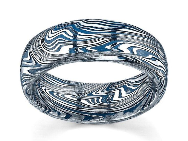 Lashbrook damascus steel wedding band with navy blue cerakote