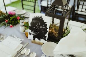 Natural Centerpiece with Constellation-Themed Table Number