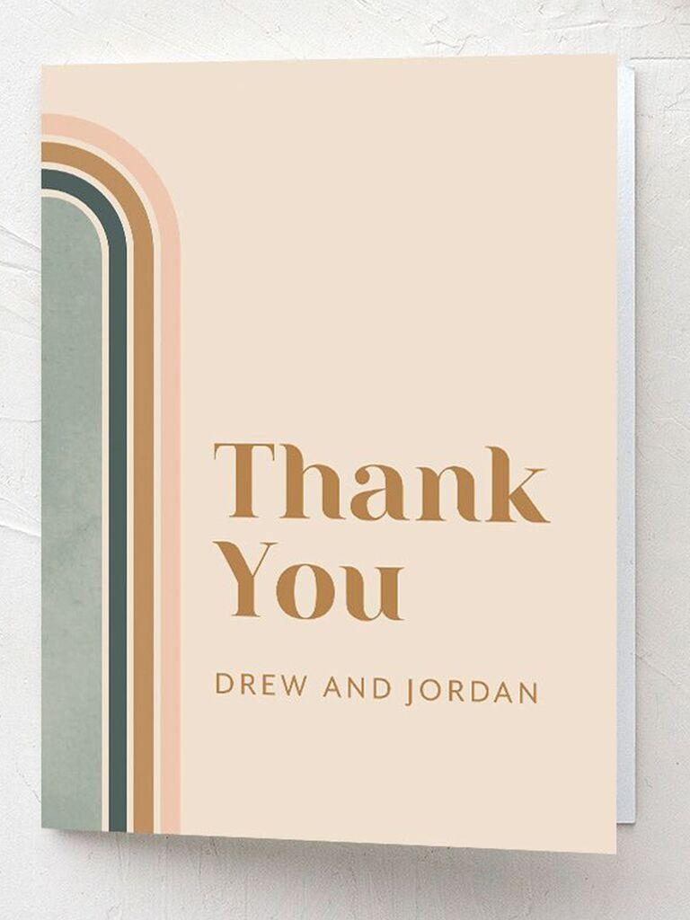 retro style wedding thank-you card