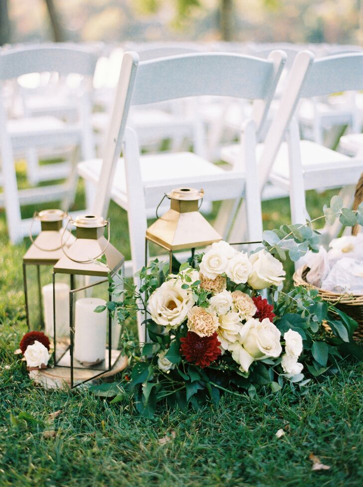 Aisle Decoration with Peonies, Roses and Gold Lanterns