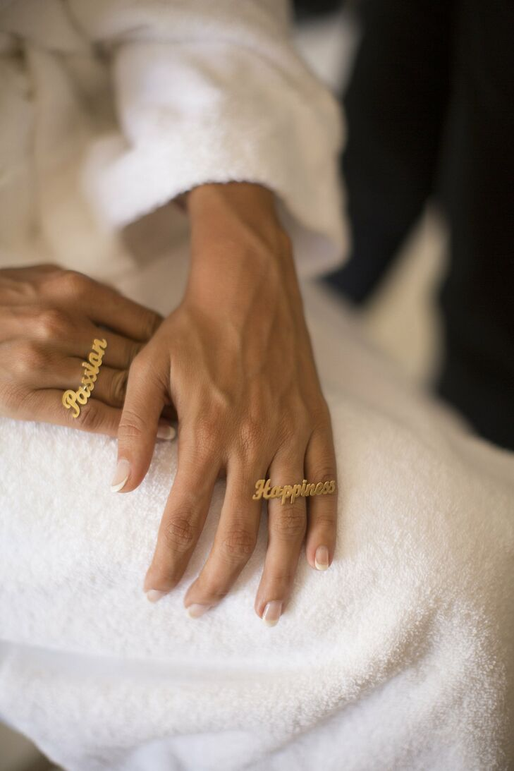Mariam incorporated message rings into her wedding to spark passion and happiness for the future.