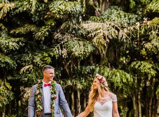 """Elizabeth Lee and Michael Aguilar were inspired by vintage mid-century Hawaiian style and tiki culture when planning their wedding. """"We mostly relied"""