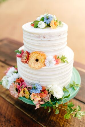 Bohemian Round Cake with Whimsical Cake Flowers