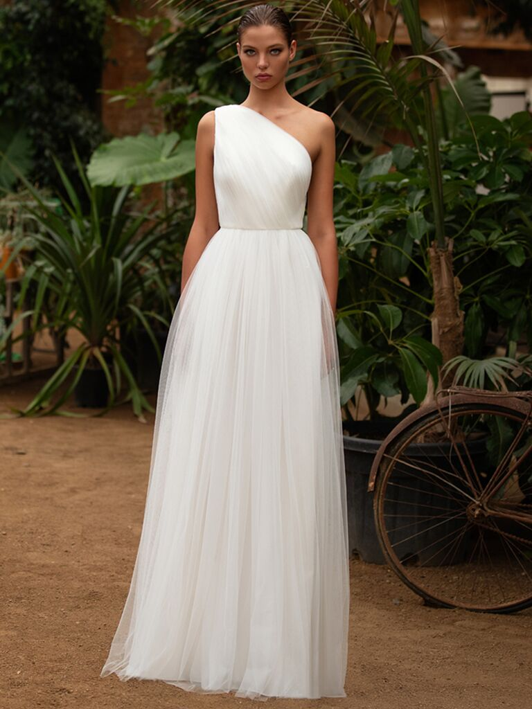 Zac Posen for White One A-line dress with tulle skirt