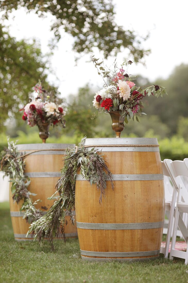 Wine Barrel Flower Arrangement Pedestals