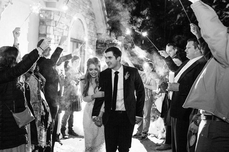 Classic Sparkler Send-Off from Winter Mountain Wedding at Ice Castles in Dillon, Colorado
