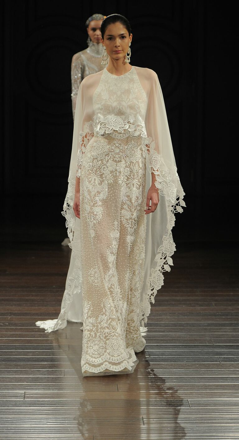 Naeem Khan Spring 2017 Hand Embroidered Sleeveless Wedding Dress With Silk  Organza Cape