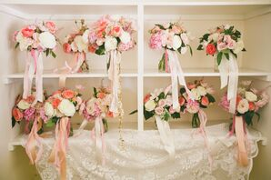 Pastel-Colored Flower Bouquets With Ribbon