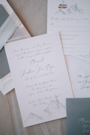 Classic Wedding Invitations with Calligraphy and Watercolor Mountain Design