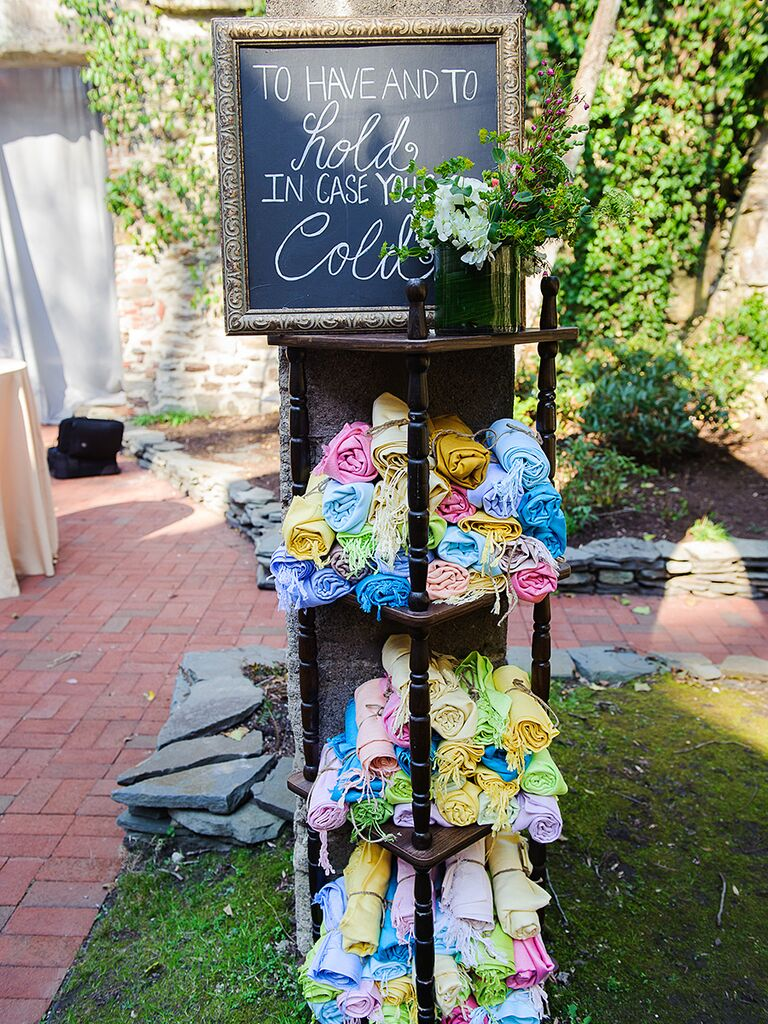 Chalkboard wedding favor sign for colorful scarf favors