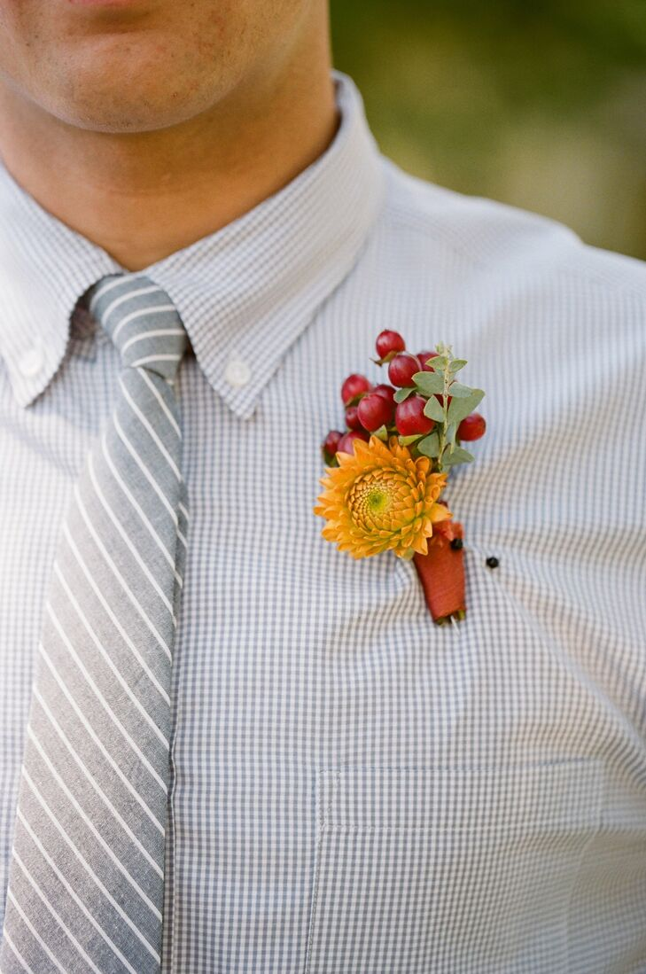 Orange and Red Boutonniere