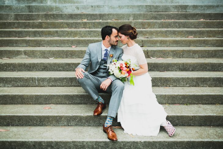 """""""The moment I saw the Alberta Ferreti dress, I knew I'd be wearing it down the aisle,"""" says Helen. """"I loved the texture and weight of it. I was completely comfortable and when my Derek Lam shoes gave out, I switched to Chanel espadrilles to dance the night away."""""""