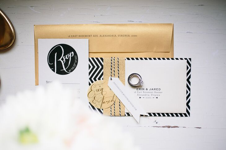 The invites were designed by Andrea Penko Design. The modern suite incorporated a gold envelope, a glittery gold belly band, a chevron black-and-white enclosure and pretty stylized fonts.