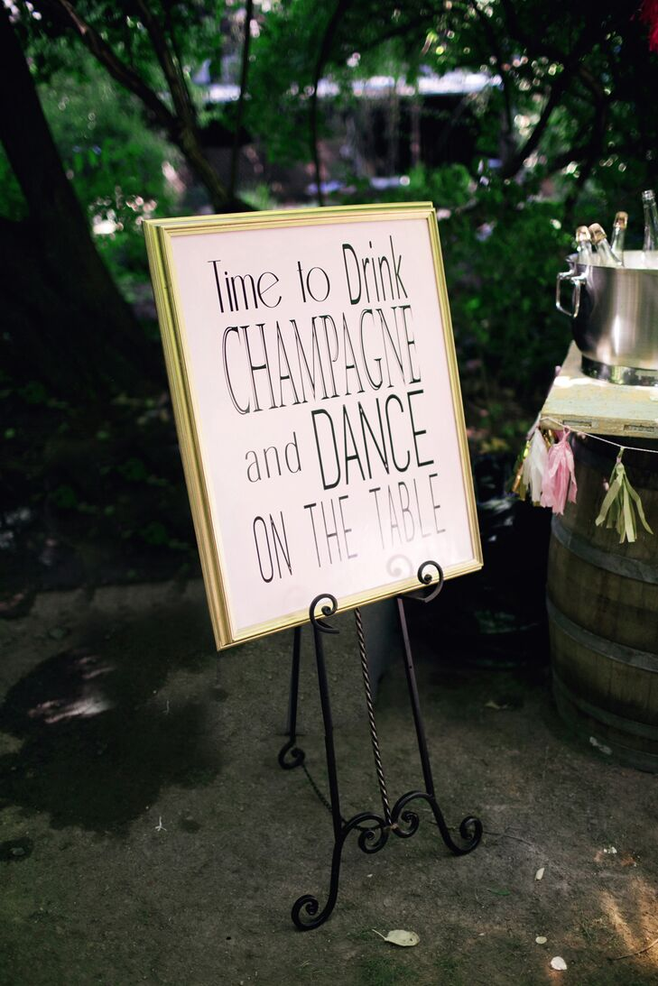 White, Black and Gold Reception Sign