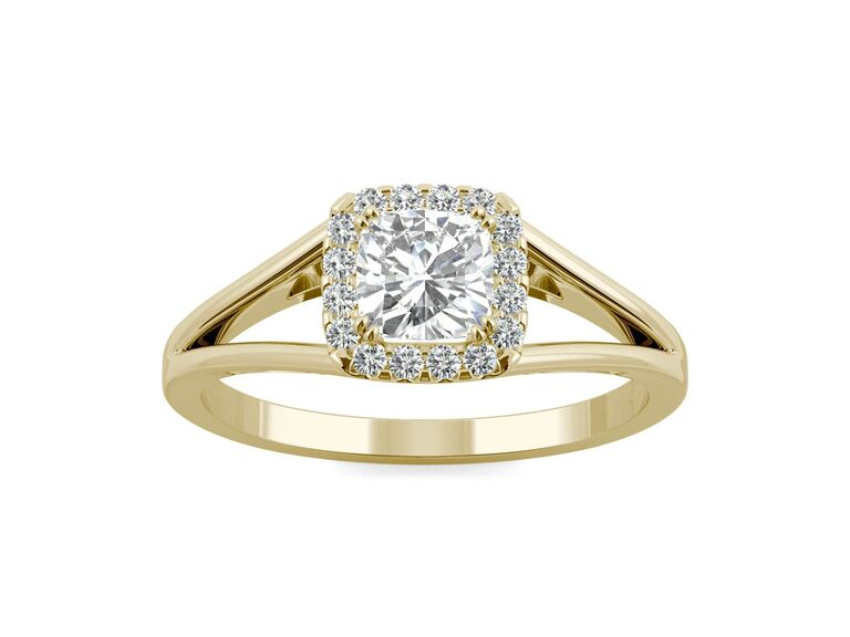 Charles & Colvard cushion colorless moissanite split shank halo engagement ring in 14K yellow gold