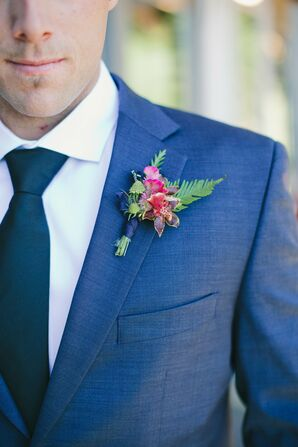 Blue Tuxedo with Fern and Wildflower Boutonniere