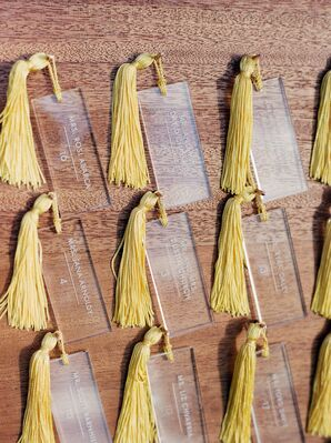 Acrylic Escort Cards with Yellow Tassels